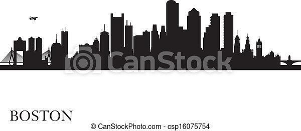 Boston city skyline silhouette background - csp16075754