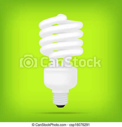 popular eco green compact fluorescent lamps white energy saving light bulb realistic isolated - csp16076291