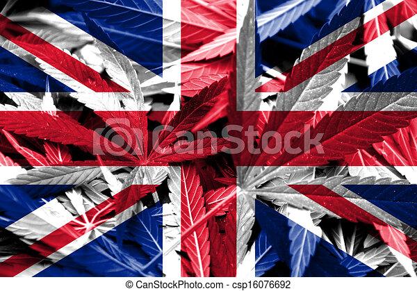 UK Flag on cannabis background - csp16076692