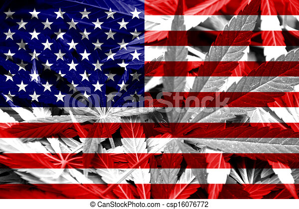 USA Flag on cannabis background - csp16076772