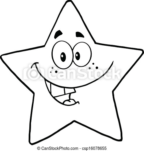 Star Cartoon Drawing Black And White Smiling Star
