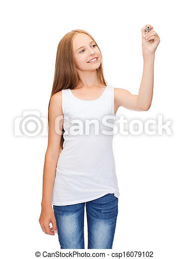 menina, em, em branco, branca, camisa, desenho, algo - csp16079102