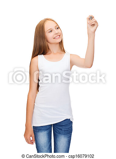 camisa, desenho, algo, em branco, menina, branca - csp16079102