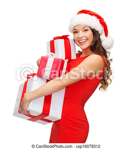 woman in santa helper hat with many gift boxes - csp16079312