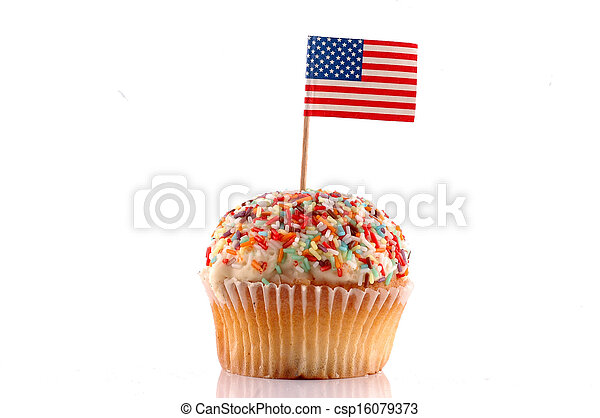 Cupcake with American Flag  - csp16079373