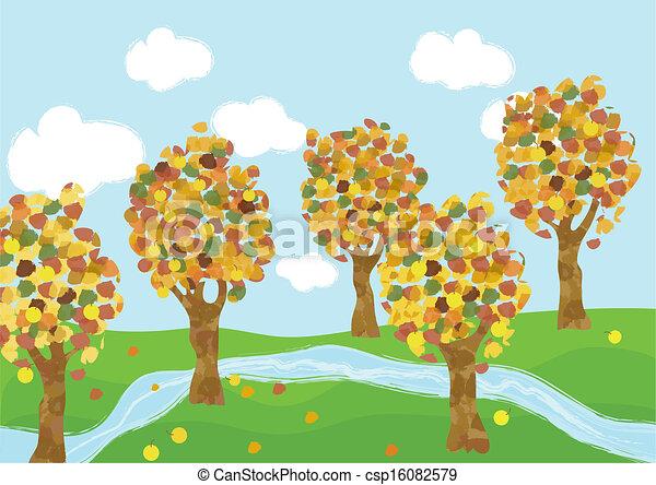 Autumn Landscape Drawing Autumn Landscape Children's