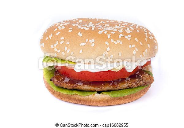 Cheap hamburger isolated - csp16082955