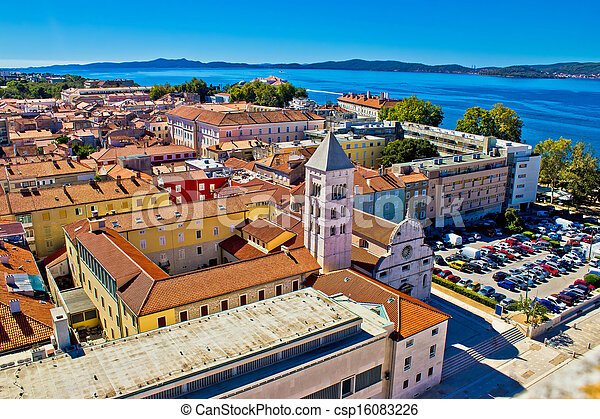 Zadar rooftops aerial city view - csp16083226