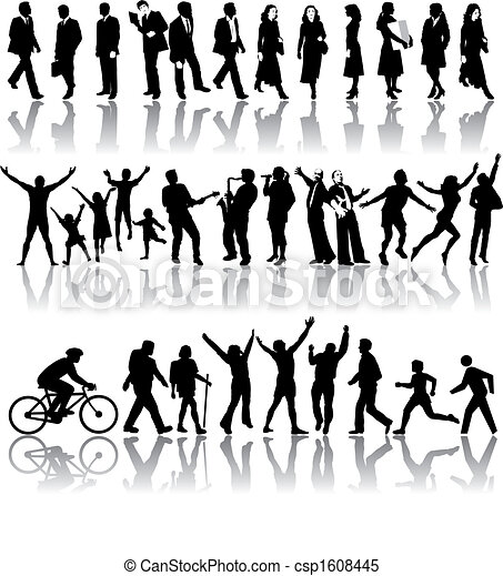 Vector silhouettes of people - csp1608445
