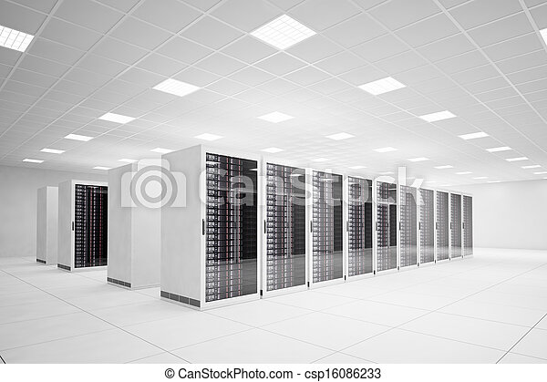 Data Center with 4 rows of servers - csp16086233