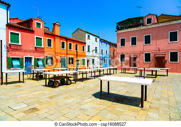 Venice landmark, Burano old market square, colorful houses, Italy - csp16088527