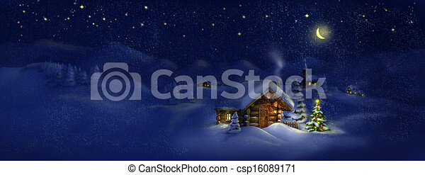 Hut, Christmas tree, light, panorama - csp16089171