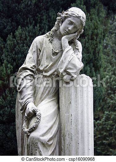 Stone Statue Grieving Woman - csp16090968