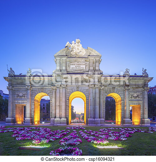 View of Puerta de Alcala at sunset - csp16094321