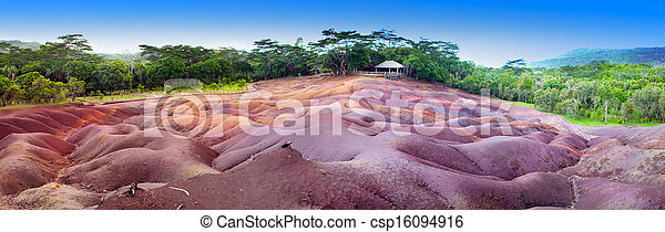 The most famous tourist place of Mauritius - earth of seven colors, panorama - csp16094916