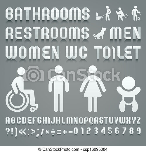 Alphabet folded of toilet paper and symbols ws - csp16095084