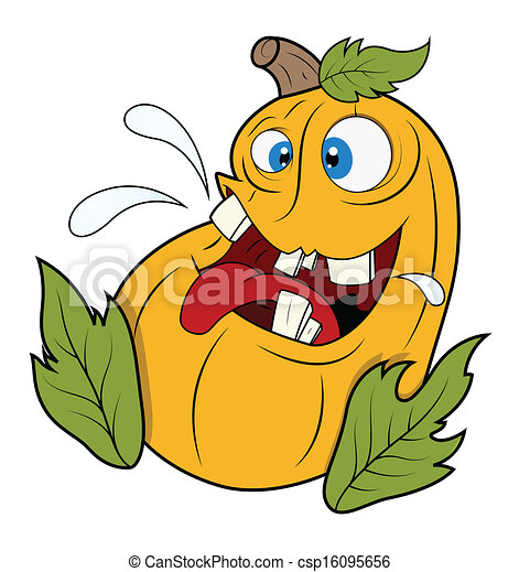 Clipart vector of funny happy jack o 39 lantern vector for Funny pumpkin drawings