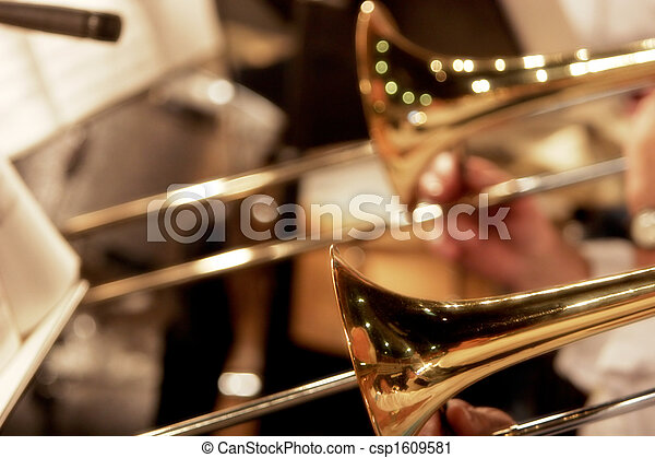 Stock Photography of Big Band Trombones - Close up of the trombone ...