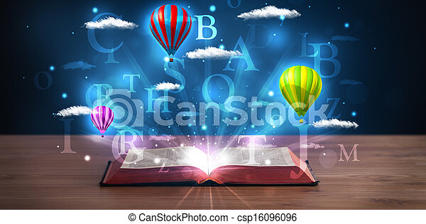 Open book with glowing fantasy abstract clouds and balloons - csp16096096