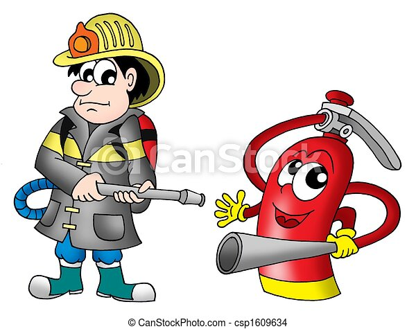 Fireman and fire extinguisher - csp1609634