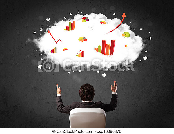Businessman with charts in a cloud above his head - csp16096378