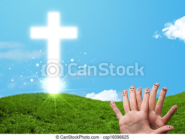 Happy finger smileys with christian religion cross - csp16096625