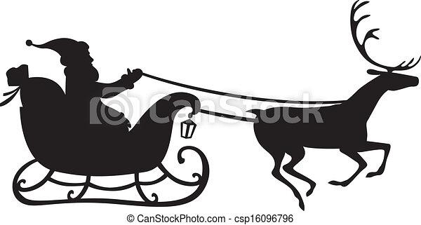 Santa Sleigh And Reindeer Silhouette