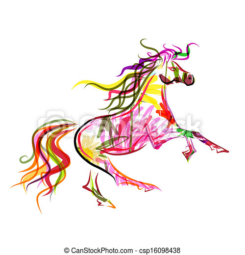 Horse Symbols Drawings Horse Sketch Colorful For Your