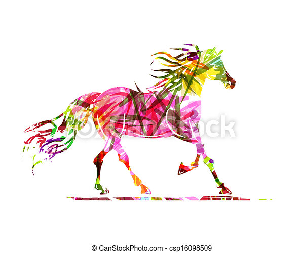 Horse sketch with floral ornament for your design. Symbol of 2014 year - csp16098509