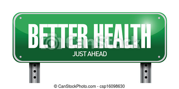 better health road sign illustration design - csp16098630