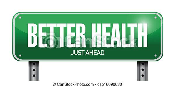 better health road sign illustration design - csp16098630