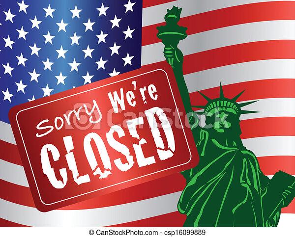 Government Shutdown Statue of Liberty - csp16099889