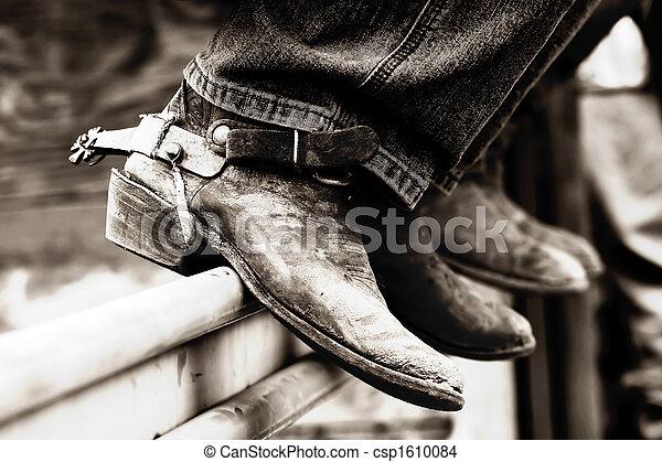 Rodeo Cowboy Boots & Spurs (BW) - csp1610084