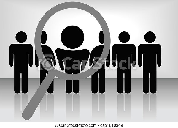 A magnifying glass finds, selects or inspects a person in a line of people: search & choose for employment, recognition, promotion, hire, etc - csp1610349