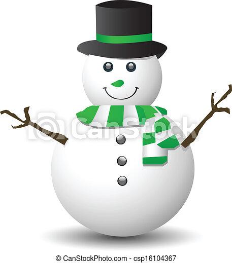 vecteur bonhomme de neige vert blanc charpe banque d 39 illustrations illustrations libres. Black Bedroom Furniture Sets. Home Design Ideas