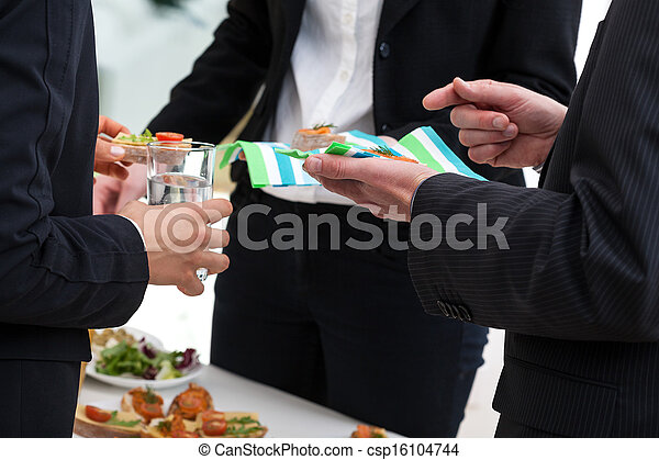 Buffet with snacks in a office center - csp16104744