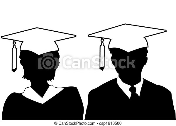 Man & woman silhouette graduates graduate in cap and gown - csp1610500