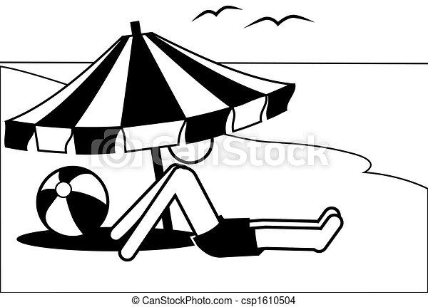 Symbol man vacations under beach umbrella by sea - csp1610504