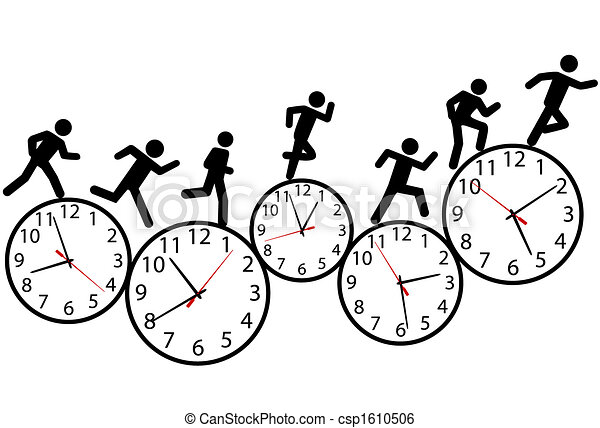 Symbol people run a race in time on clocks - csp1610506