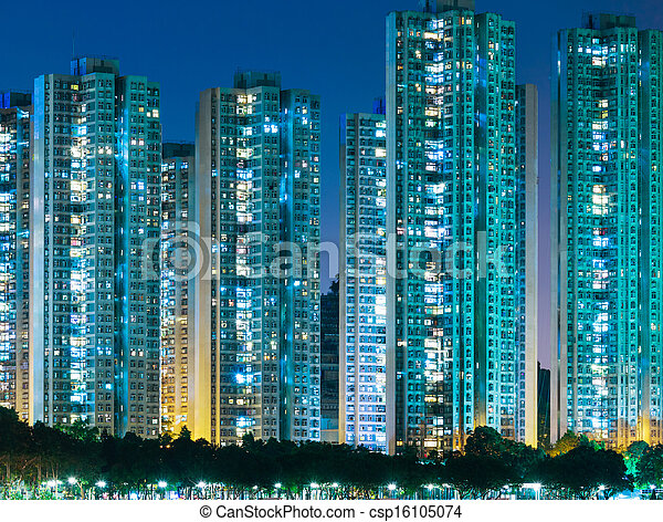 Residential district in Hong Kong - csp16105074