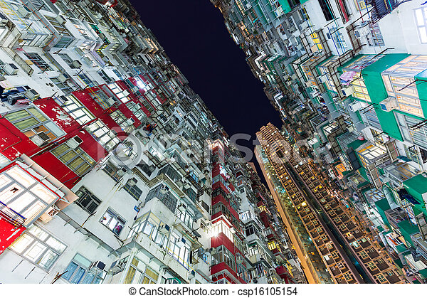Overcrowded residential building in Hong Kong - csp16105154
