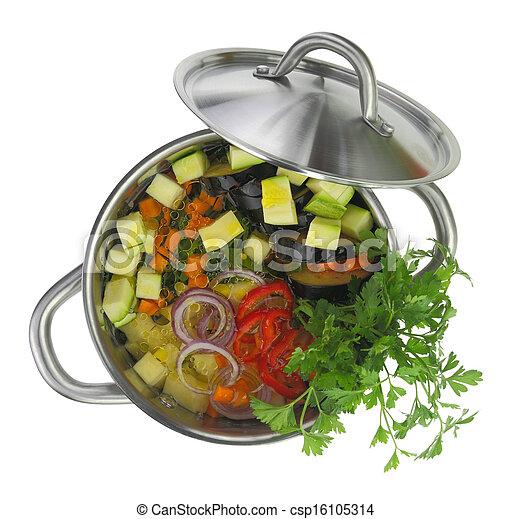 isolado, potenciômetro sopa, vegetal, fresco, branca - csp16105314