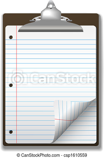 Clipboard School Ruled Notebook Paper Corner Page Curl - csp1610559