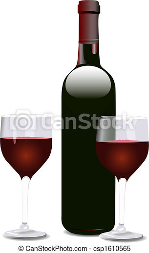 Red Wine Glass Grapes - csp1610565
