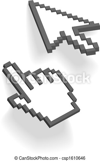 Pixel arrow hand 3D cursors point on shadows - csp1610646