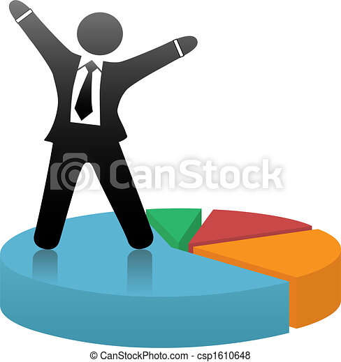 A symbol business man celebrates a financial market share success standing on a colorful pie chart. - csp1610648