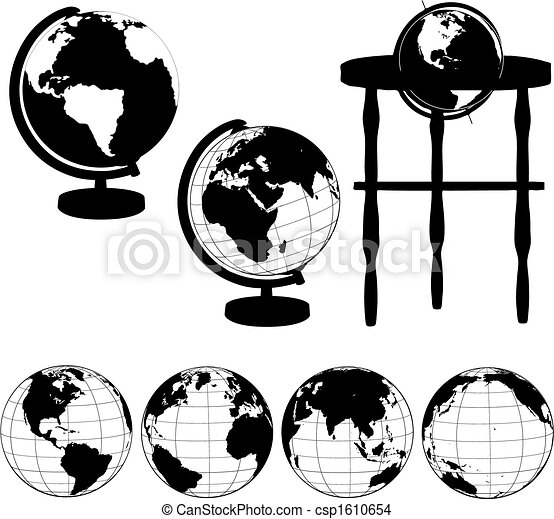 Globes Stands Silhouettes Set - csp1610654