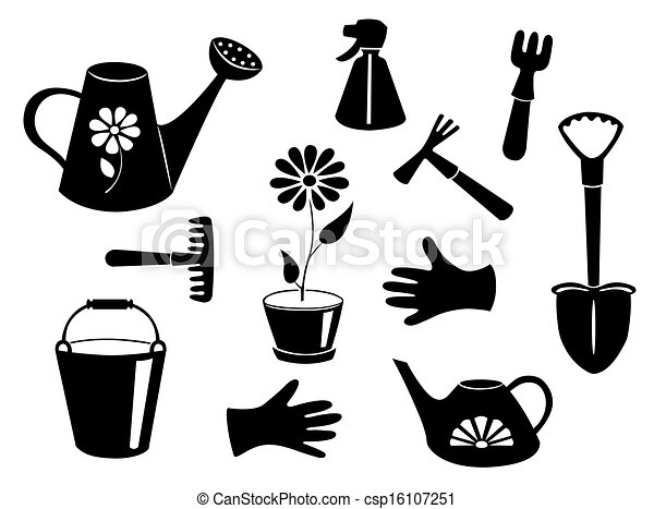 Clipart Vector of Silhouettes of garden tools. Vector illustration ...