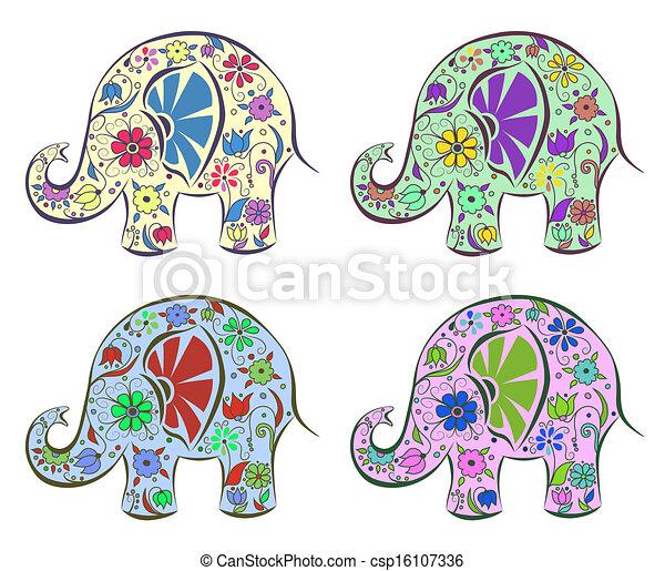 vektoren von satz von elefanten gemalt per blumen freigestellt csp16107336 suchen. Black Bedroom Furniture Sets. Home Design Ideas