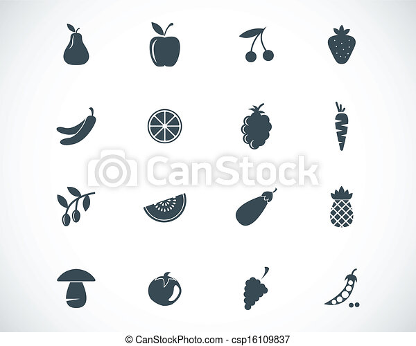 Vector black  food icons set - csp16109837